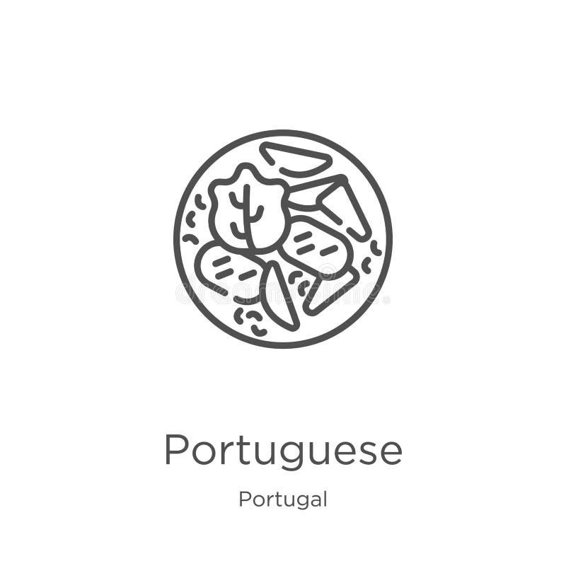Portugese pictogramvector van de inzameling van Portugal Dunne het pictogram vectorillustratie van het lijn Portugese overzicht O royalty-vrije illustratie