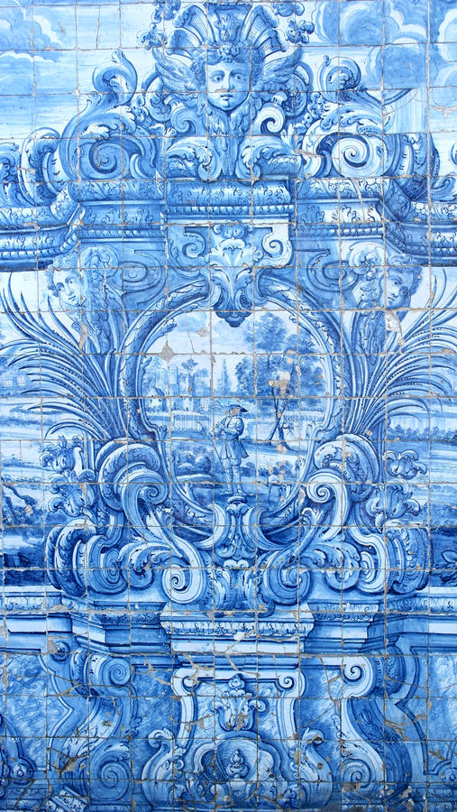 Portugese Tegels, Kathedraal van Porto, Porto, Portugal stock afbeelding