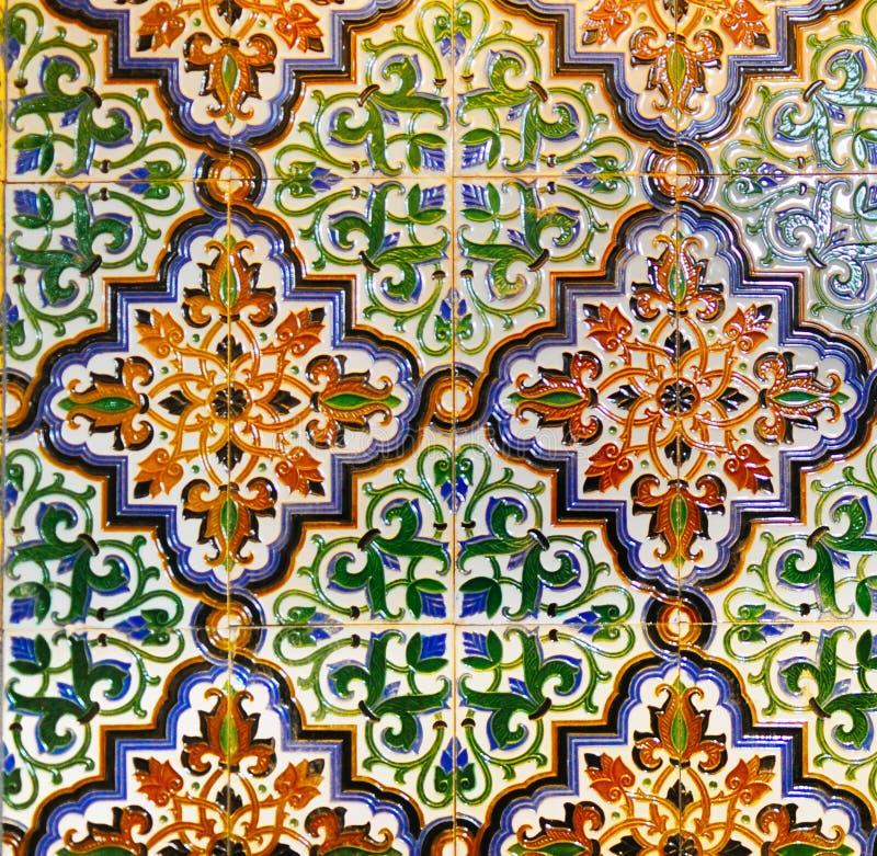 Portugese Uitstekende Geometrische Patroon Verglaasde Tegels, Met de hand gemaakte Azulejos, de Straatkunst van Portugal, Abstrac royalty-vrije stock foto