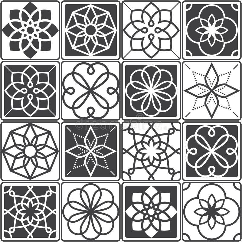 Portugiese Azulejo-Fliesen entwerfen, nahtlose geometrische Mustersammlung in dunkelgrauem vektor abbildung