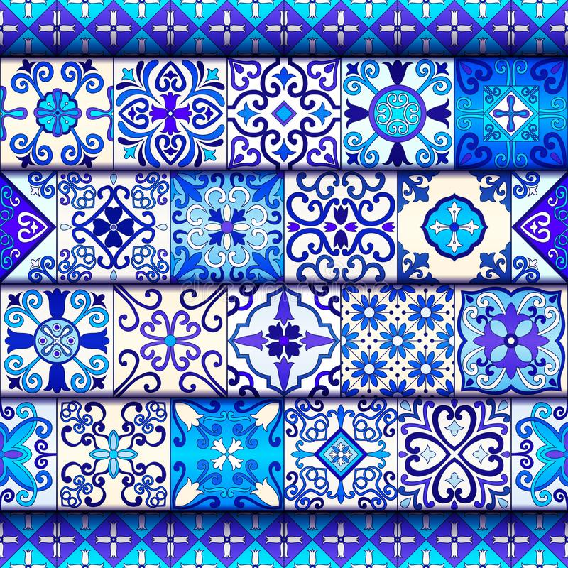 Portugiese deckt nahtlosen Mustervektor mit den blauen und weißen Verzierungen mit Ziegeln Des Mexikaners, spanischer oder arabis lizenzfreie abbildung
