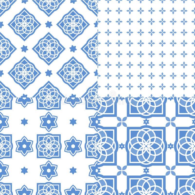 Portugiesische azulejo Fliesen Nahtlose Muster lizenzfreie abbildung