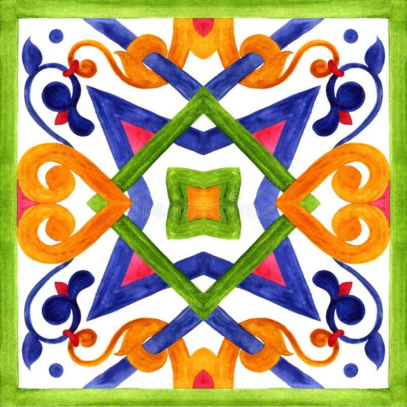 Portugiesische azulejo Fliesen Nahtlose Muster des Aquarells, Drucke lizenzfreie abbildung