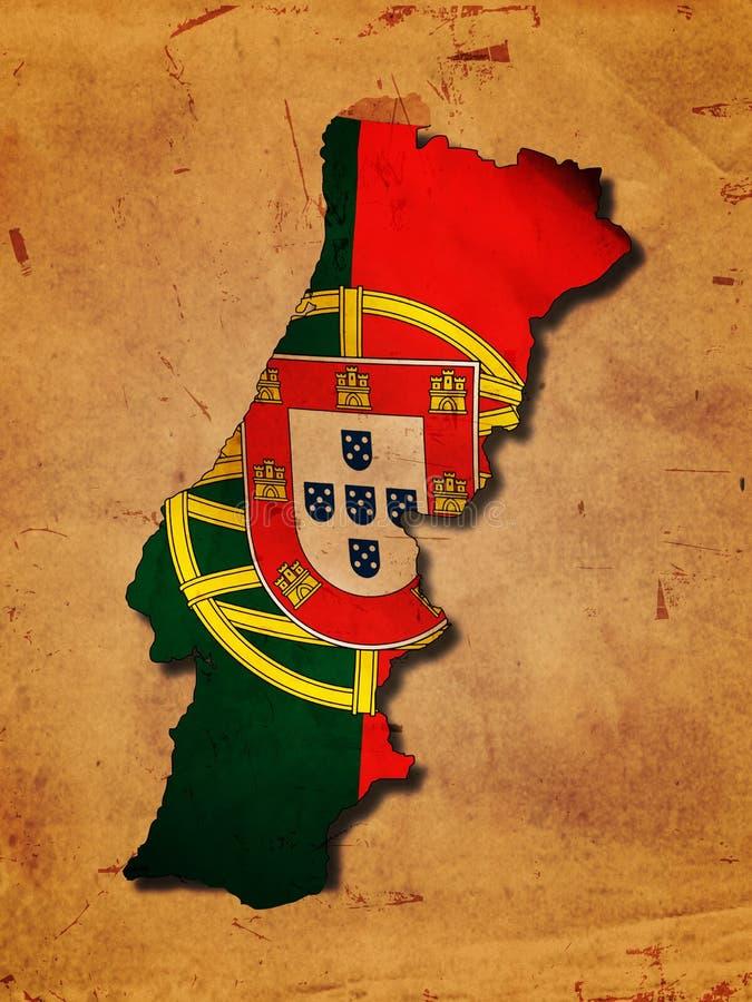 Portugiesische Karte mit Markierungsfahne stock abbildung
