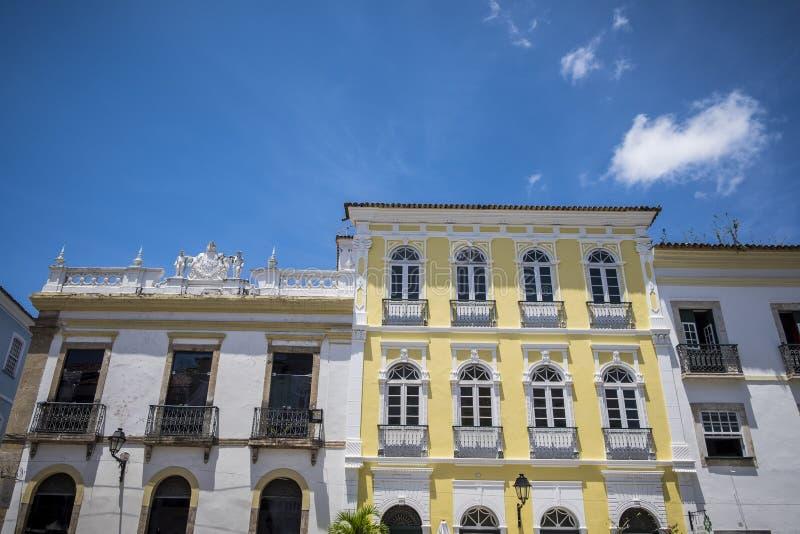 Portugiesische kolonialarchitektur in Pelourinho lizenzfreie stockfotos