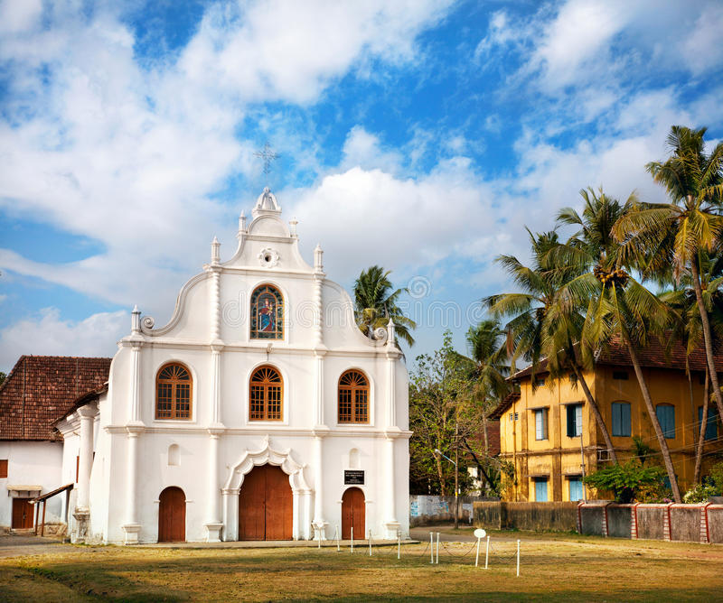 Portugiesische Kolonialkirche in Kochi stockfotografie