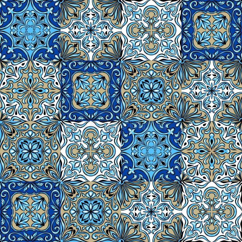 Portugiesisches azulejo Keramikziegelmuster stock abbildung