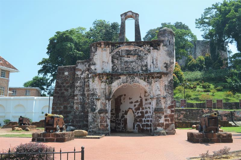 A Famosa Fort In Malacca Malaysia. This is a Portugis made fort in the year 1511 in Malacca Malaysia. It is also known as Porta De Santiago royalty free stock image