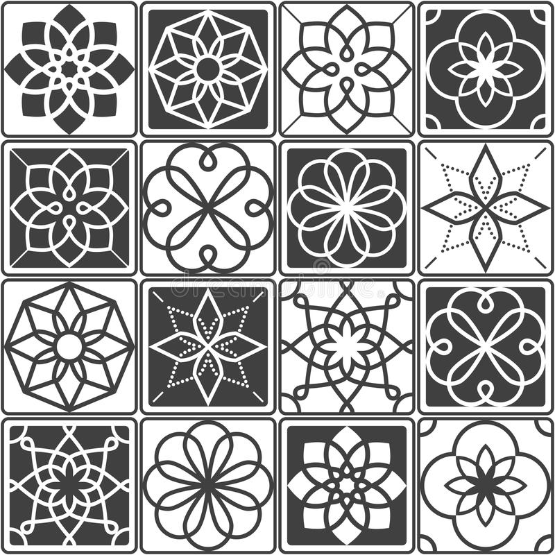 PortugisAzulejo tegelplattor planlägger, den sömlösa geometriska modellsamlingen i mörka grå färger vektor illustrationer
