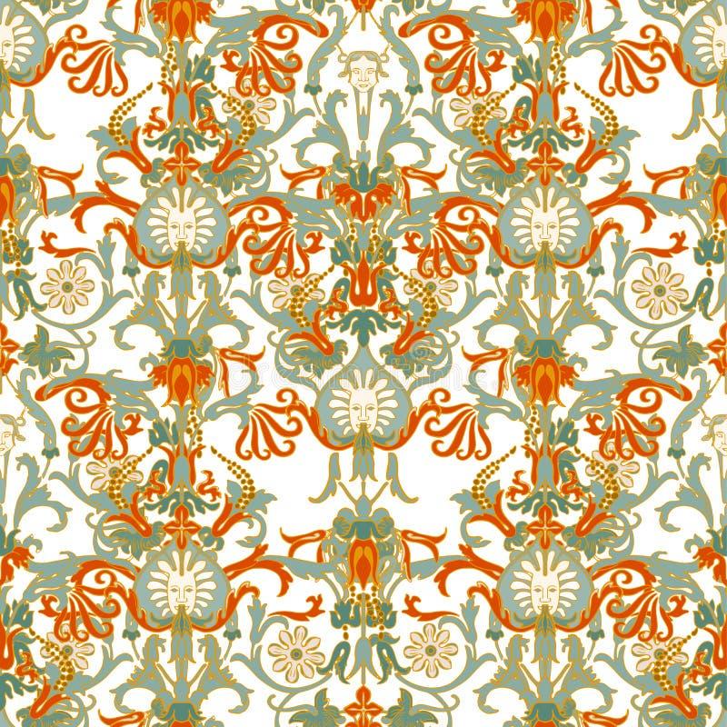 Portugisisk modell för keramisk tegelplatta för azulejo Etnisk folkprydnad Medelhavs- traditionell prydnad Italiensk krukmakeri,  royaltyfri illustrationer