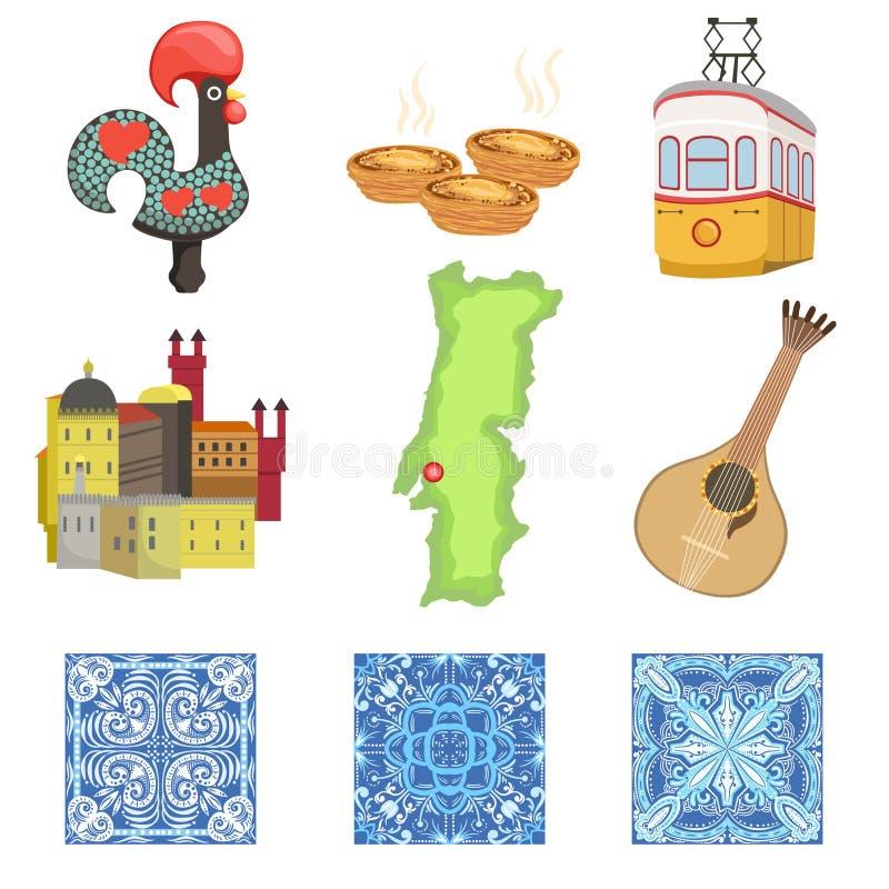 Portugisisk uppsättning för nationella symboler av objekt royaltyfri illustrationer