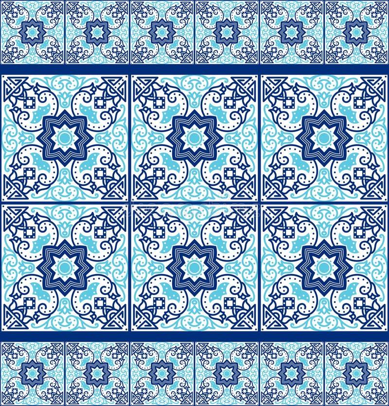 Portugisiska azulejotegelplattor mönsan seamless stock illustrationer