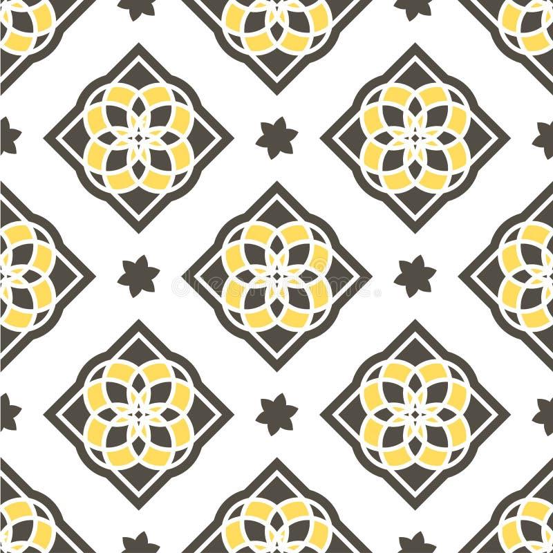 Portugisiska azulejotegelplattor mönsan seamless royaltyfri illustrationer