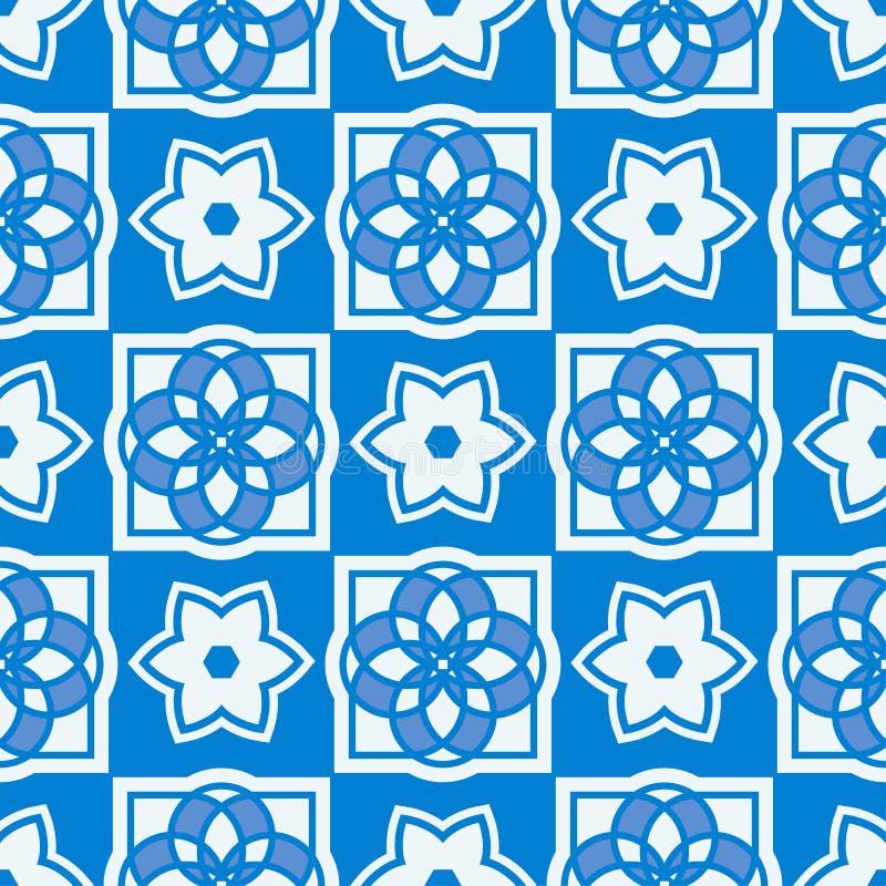 Portugisiska azulejotegelplattor mönsan seamless vektor illustrationer