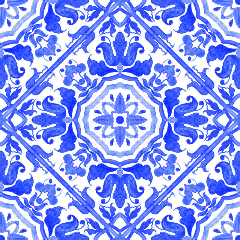 Portugisiska azulejotegelplattor Sömlös modell för vattenfärg stock illustrationer