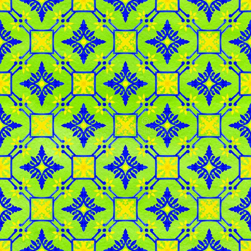 Portugisiska azulejotegelplattor Sömlös modell för vattenfärg vektor illustrationer