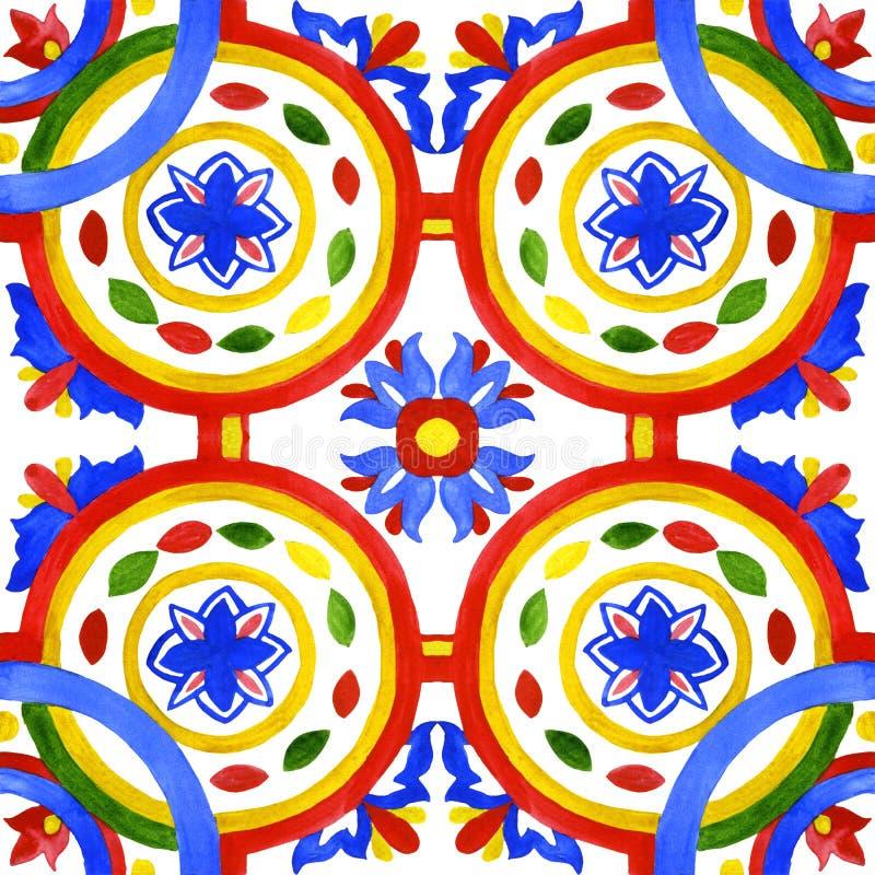 Portugisiska azulejotegelplattor Sömlös modell för vattenfärg royaltyfri illustrationer