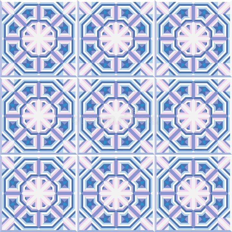 Portugisiska golvtegelplattor planlägger, den sömlösa modellen, geometrisk bakgrund för abstrakt begrepp royaltyfri illustrationer