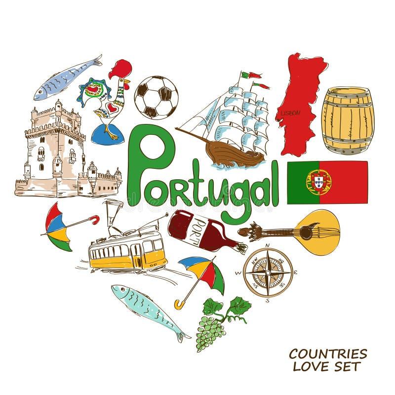 Portugisiska symboler i hjärtaformbegrepp royaltyfri illustrationer