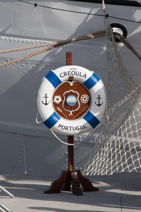 Portugisiskt Creoula för marinskepp tecken royaltyfria bilder