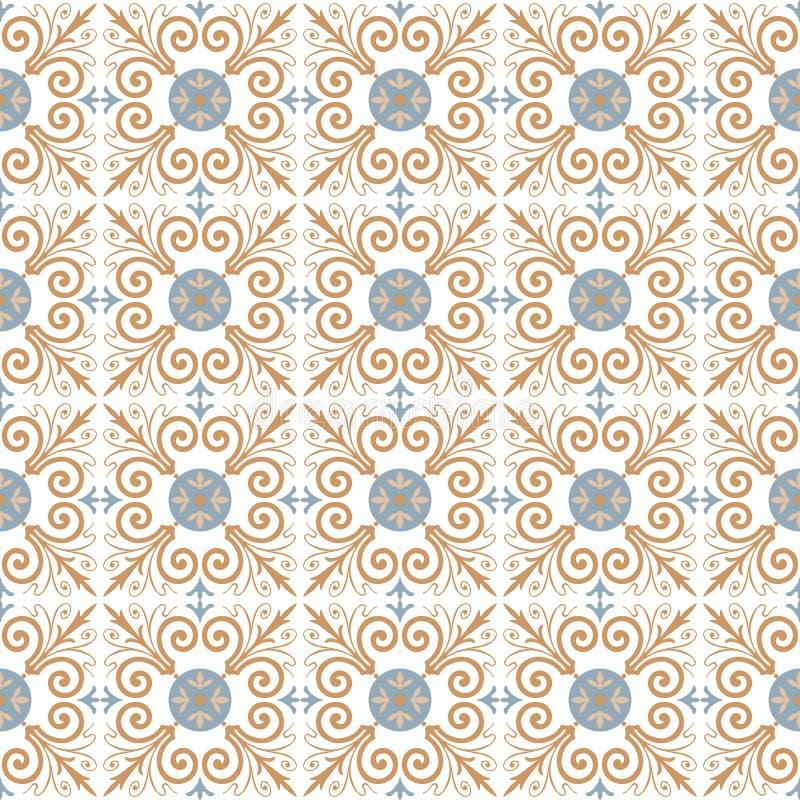 Portugistegelplattamodell för prydnadpapper för bakgrund geometrisk gammal tappning seamless vektor vektor illustrationer