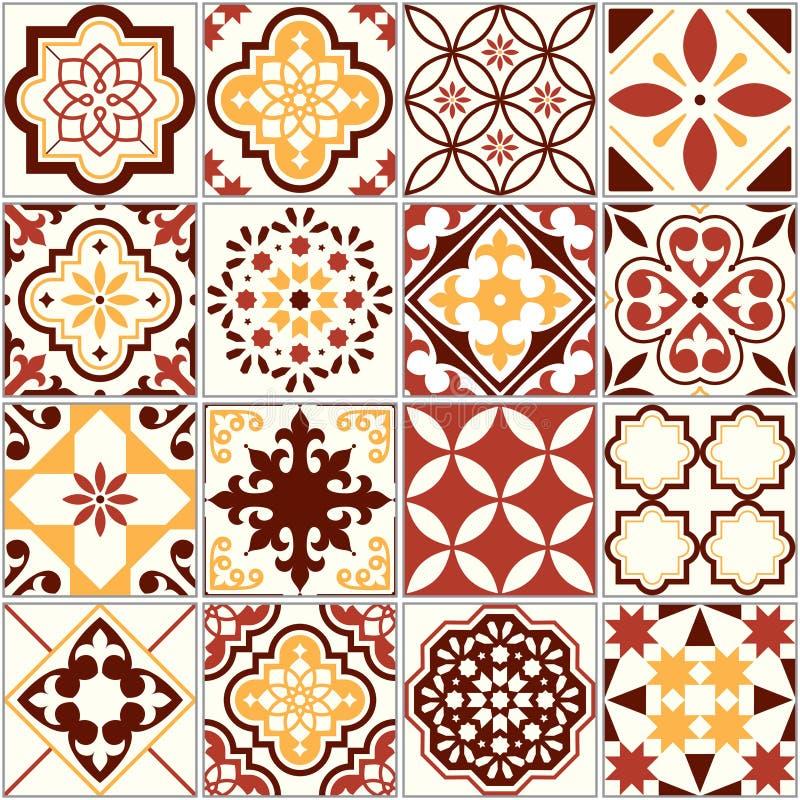 Portugistegelplattor, Lissabon konstmodell, medelhavs- sömlös prydnad i brunt och guling royaltyfri illustrationer