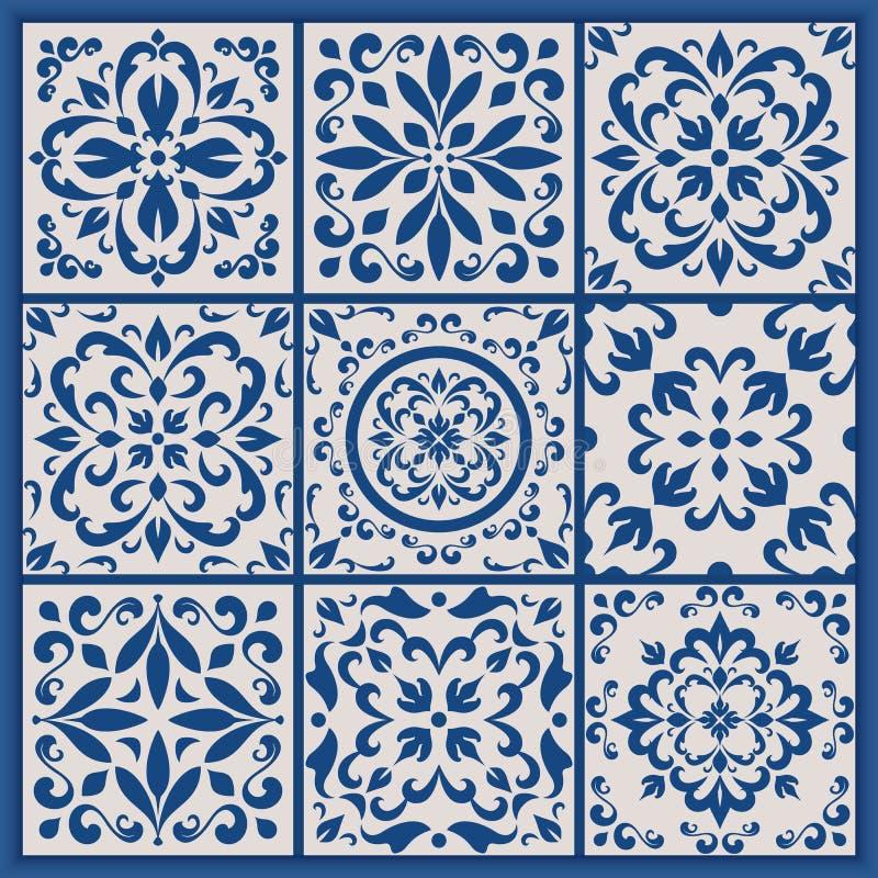Portugistegelplattor med azulejoprydnader royaltyfri illustrationer