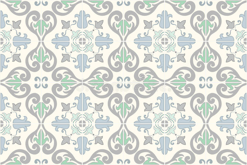 Portugués adornado tradicional y el brasileño teja azulejos Tejas llevadas sórdidas descoloradas del azulejo de los colores Ilust libre illustration