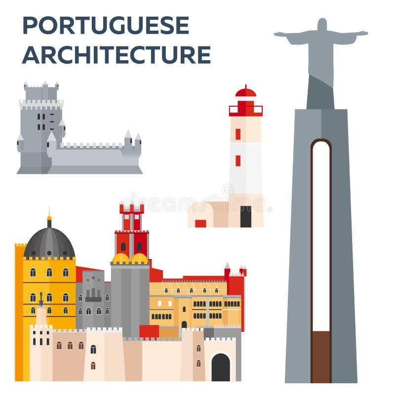 Portugués Architcture Viaje a Portugal Ilustración del vector stock de ilustración