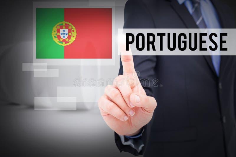 Português contra a sala abstrata branca fotos de stock
