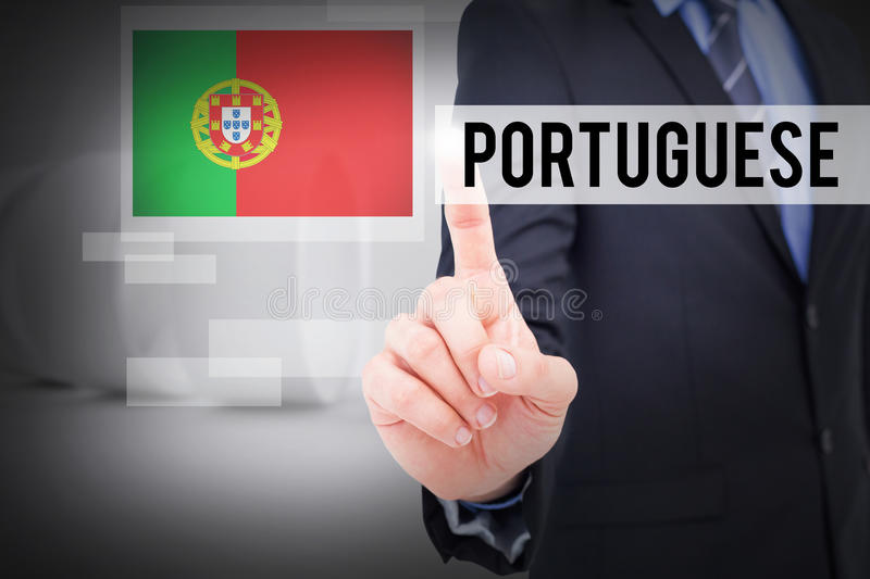 Portuguese against white abstract room stock photos