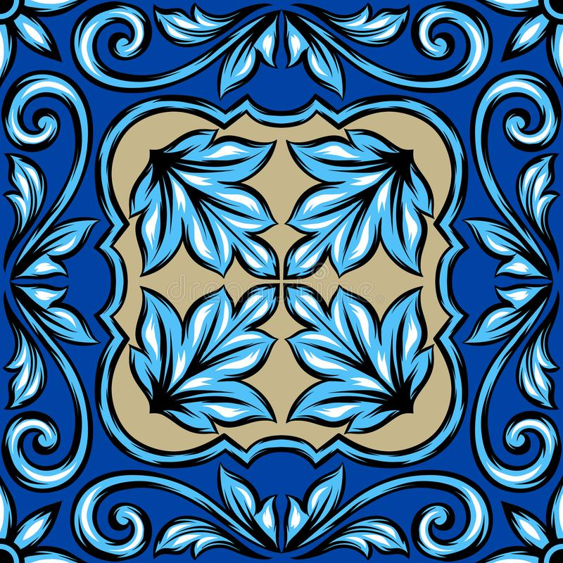 Portuguese azulejo ceramic tile. royalty free illustration