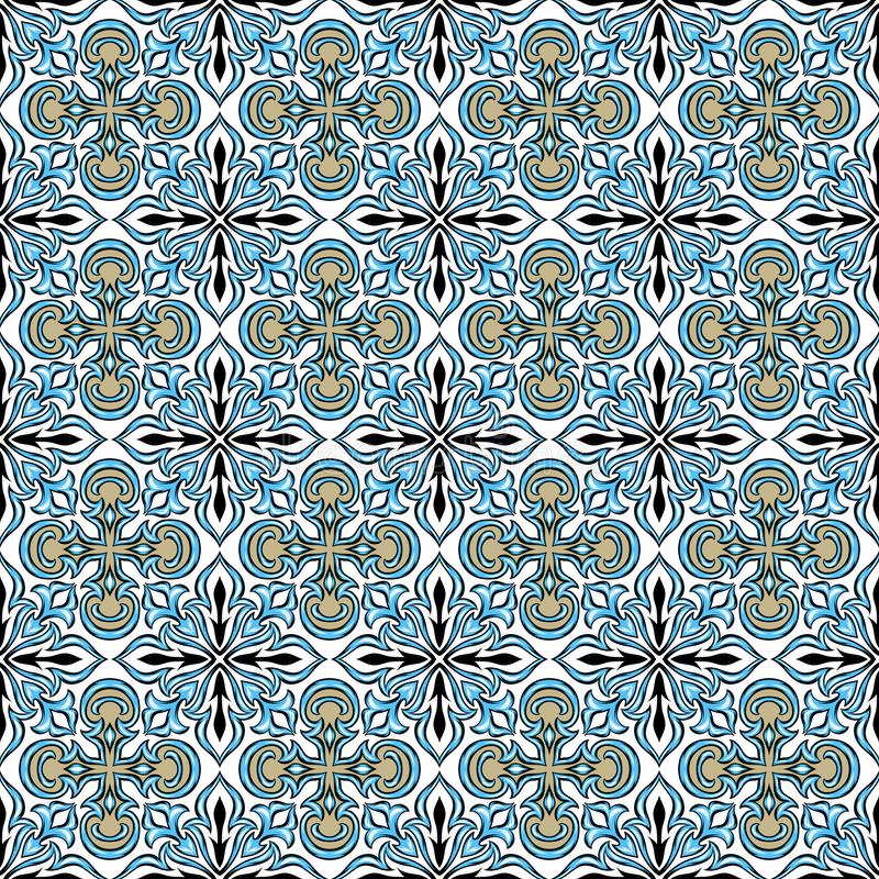 Portuguese azulejo ceramic tile pattern. vector illustration