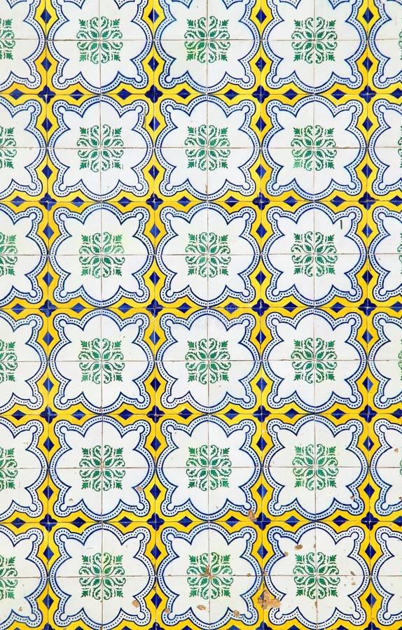 Portuguese Azulejo ceramic wall tiles. Beautiful old Portuguese Azulejo traditional exterior ceramic wall tiles. Lisbon, Portugal royalty free stock image