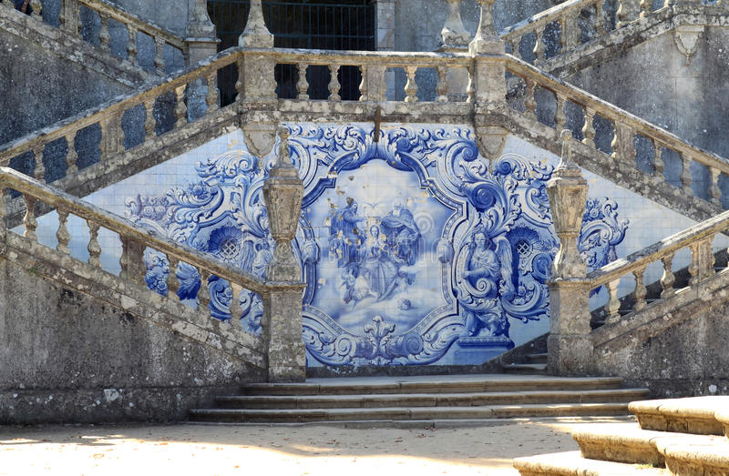 Portuguese azulejo at the stairs of cathedral. On one of the hills near the town of Lamego in Portugal is the monumental baroque Sanctuary of Nossa Senhora dos royalty free stock photos