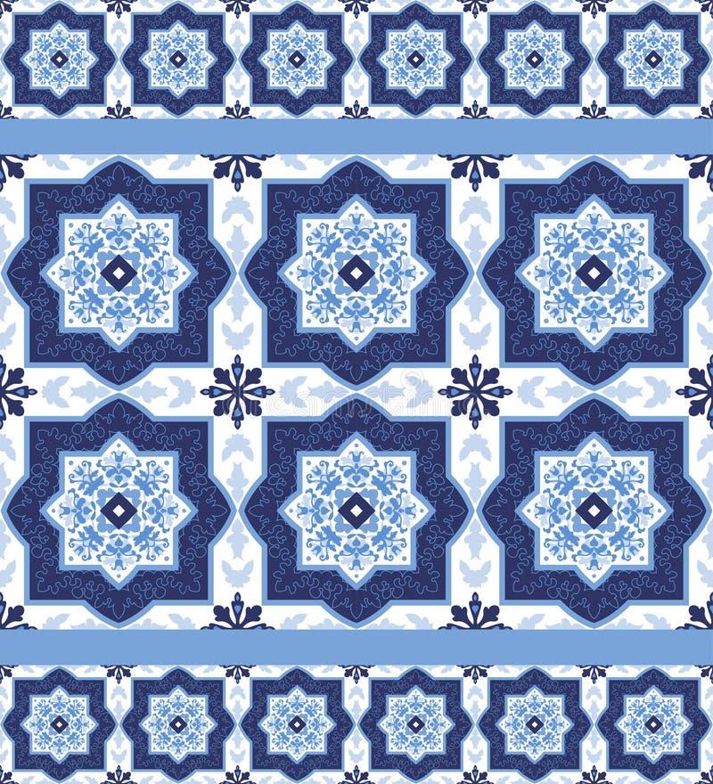 Portuguese azulejo tiles. Seamless patterns. royalty free illustration