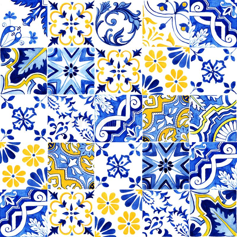 Free Portuguese Azulejos Tile Seamless Pattern. Traditional Watercolor Portuguese Mosaic Tile Decoration. Stock Photo - 180592860