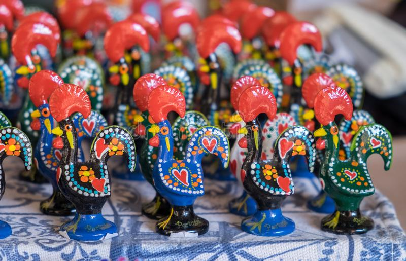 Portuguese black rooster gift for sale at Porto market (Mercado do Bolhao. ). Portugal stock images