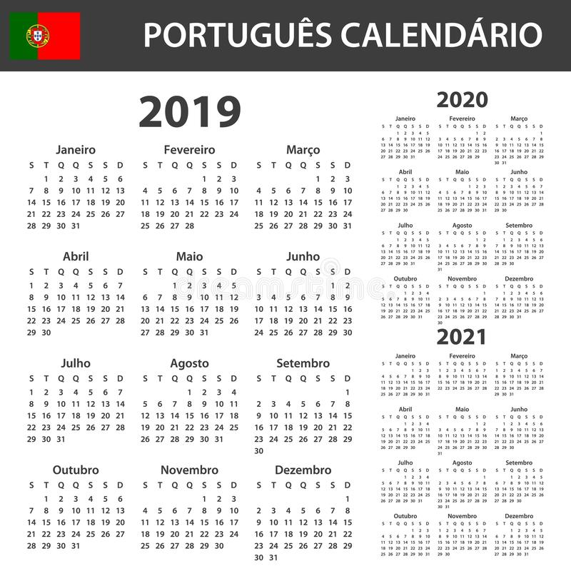 Portuguese Calendar for 2019, 2020 and 2021. Scheduler, agenda or diary template. Week starts on Monday.  vector illustration