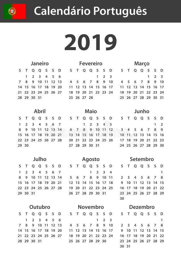 Portuguese Calendar for 2019. Scheduler, agenda or diary template. Week starts on Monday.  stock illustration