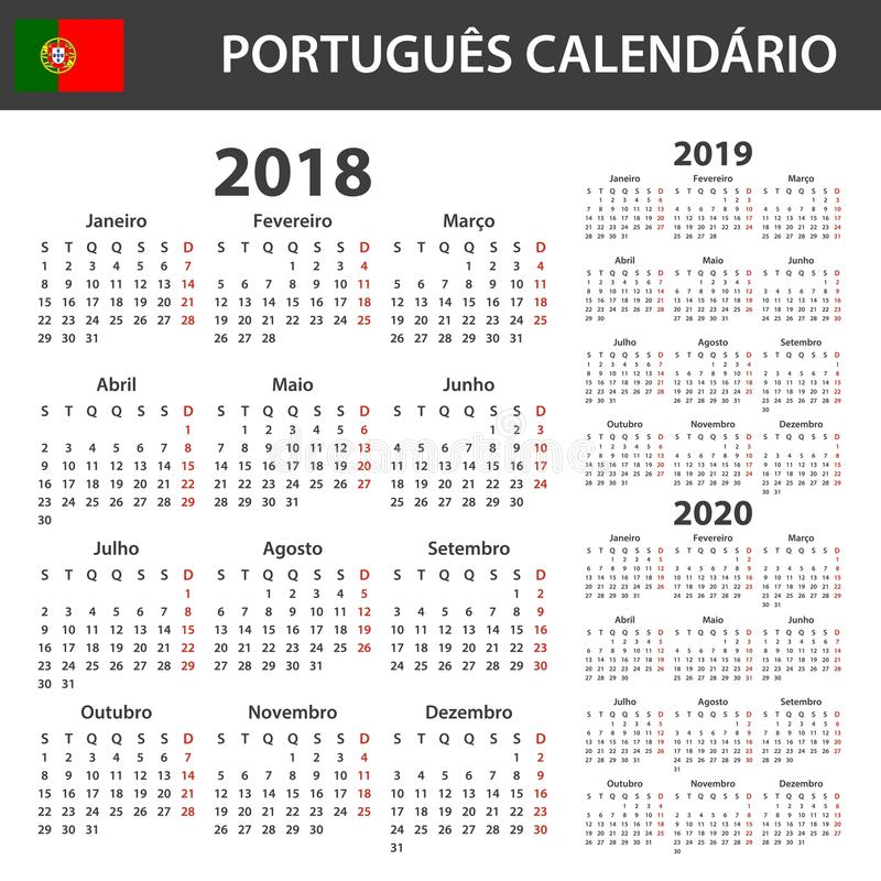Portuguese Calendar for 2018, 2019 and 2020. Scheduler, agenda or diary template. Week starts on Monday.  royalty free illustration