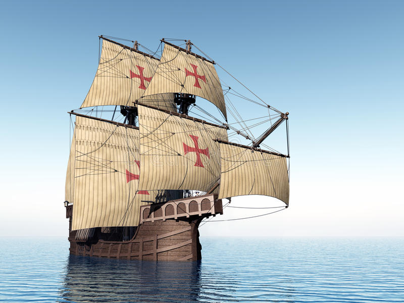 Portuguese Caravel. Computer generated 3D illustration with a Portuguese Caravel of the Fifteenth Century