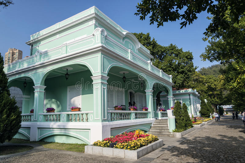 Portuguese colonial mansions in taipa area of macao macau china. Old portuguese colonial mansions tourist attraction in taipa area of macao macau china royalty free stock image