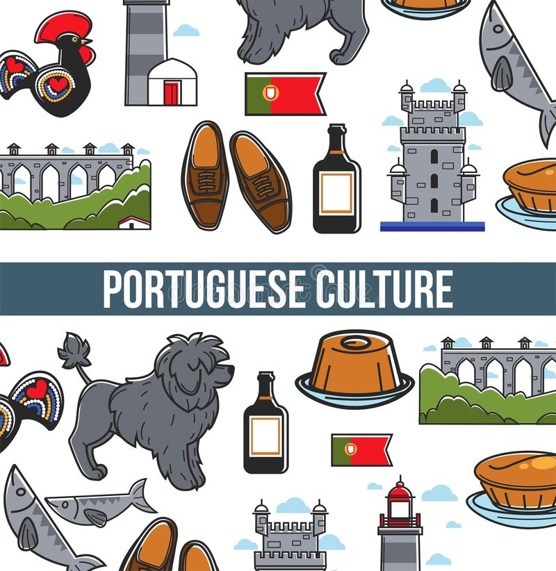 Portuguese culture seamless pattern poster with famous landmarks and country symbols. Portuguese culture seamless pattern, tourism poster, banner with famous royalty free illustration