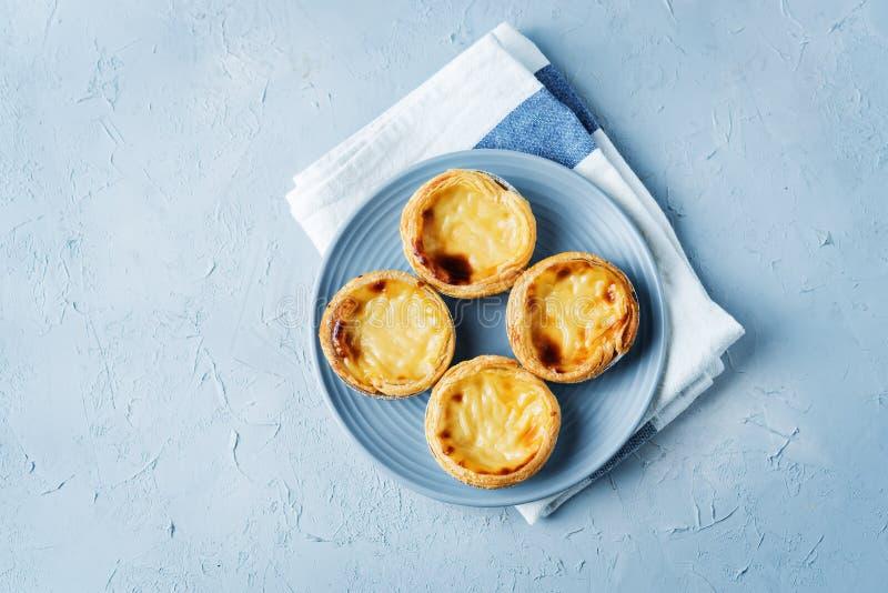 Portuguese custard pies, Pastel de Nata or Pastel de Belem. Traditional portuguese pastry royalty free stock image