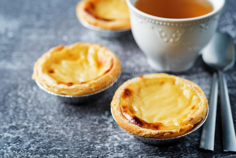 Portuguese custard pies, Pastel de Nata or Pastel de Belem. Traditional portuguese pastry stock photography