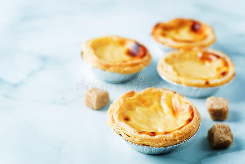 Portuguese custard pies, Pastel de Nata or Pastel de Belem. Traditional portuguese pastry stock photo