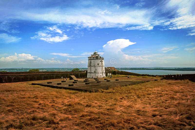 Portuguese fort Aguada. Goa. Candolim. India. Ancient fort and lighthouse built in the 17th century royalty free stock image