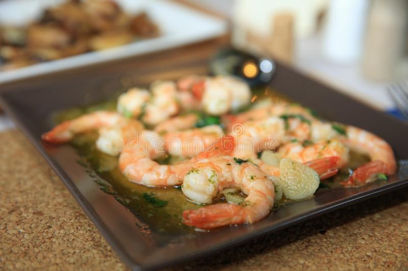 Portuguese garlic and herb boiled Prawns Tapas stock photography