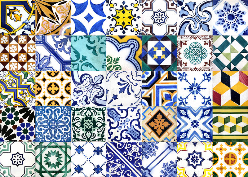 Portuguese glazed tiles stock image